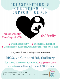 Looking for a breastfeeding support group in the Sudury Concord Marlborough area?  Look no further!