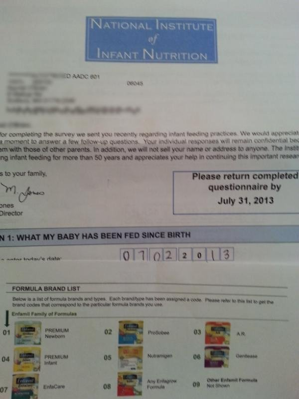 low milk supply series- formula marketing survey